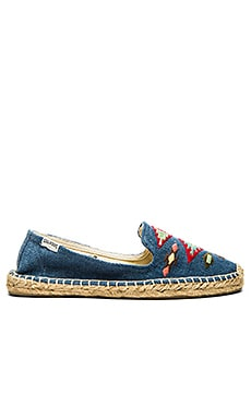 Soludos Thunder Bird Embroidered Espadrille in Denim Blue