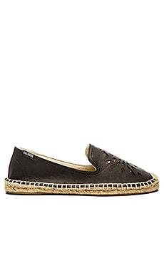 Soludos Leather Dream Catcher Espadrille in Black