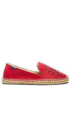 Soludos Leather Dream Catcher Espadrille in True Red