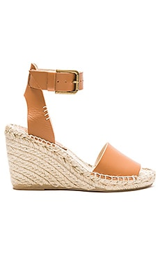 Soludos Open Toe Wedge Leather in Tan