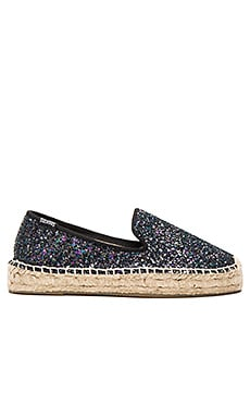 Soludos Platform Smoking Slipper Disco Glitter in Midnight Blue