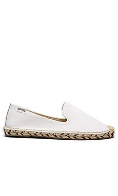 Soludos Smoking Slipper Zebra Jute in White
