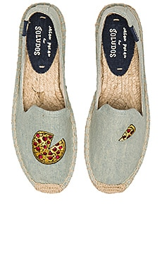 Soludos Pizza Embroidery SM Slipper in Chambray