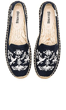 Otomi Embroidered Platform Smoking Slipper en Marine & Blanc