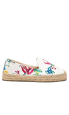 Platform Smoking Slipper en Fleuri Blanc
