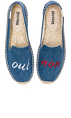 Soludos Oui Non Embroidered Smoking Slipper in Navy Linen