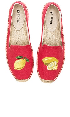 Lemons Embroidered Smoking Slipper in Coral Linen
