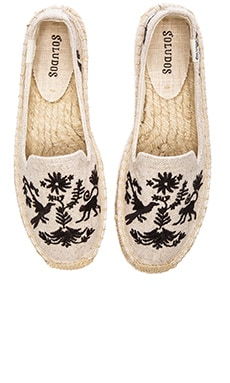 Soludos Otomi Embroidered Smoking Slipper in Sand & Black