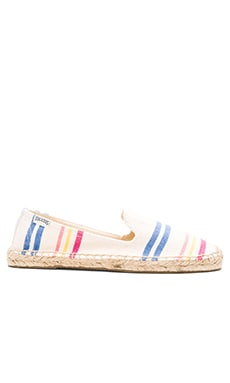 Soludos Candy Stripe Smoking Slipper in White Multi