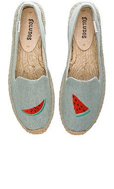 Watermelon Embroidered Smoking Slipper in Chambray