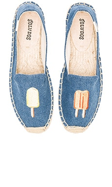 Popsicles Embroidered Smoking Slipper in Denim Blue