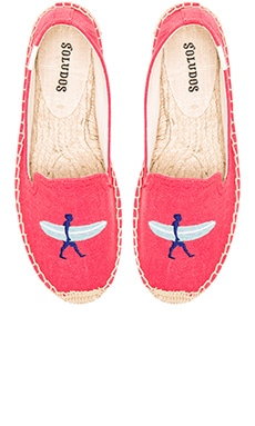 Soludos Surfer Embroidered Smoking Slipper in Coral Linen