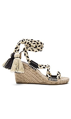Gladiator Lace Up Wedge in Black & Natural