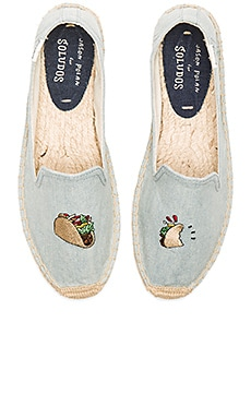 Embroidered Smoking Slipper in Chambray