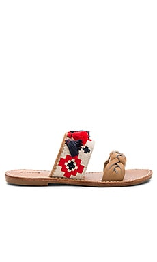 Embroidered Slide Sandal in Sand