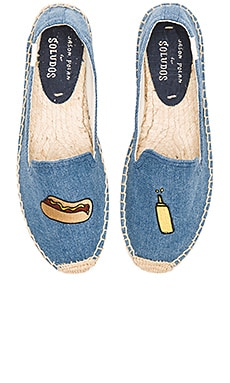 Embroidered Smoking Slipper in Medium Denim