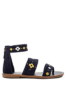 Embroidered Three Banded Sandal in Midnight Blue