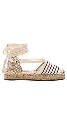 Striped Gladiator Sandal in Red Navy Natural