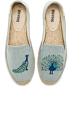 Peacock Smoking Slipper in Chambray
