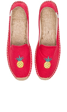 Soludos Linen Pinapple Smoking Slipper in Coral