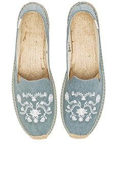 Soludos Mexican Embroidered Espadille in Chambray & Cream