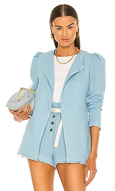 Paula Puff Shoulder Blazer Something Navy $165 NEW