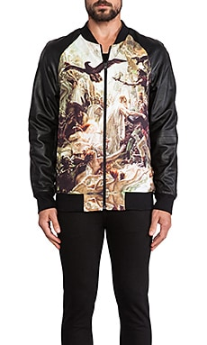Mythical Hero and Dancing Tigers Reversible Bomber in Black