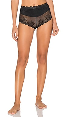 Retro Rise Lace Cheeky in Very Black