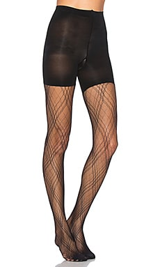 Plaid Lace Tights in Very Black