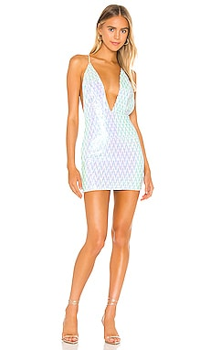 Мини платье с глубоким v-образным вырезом jiani - superdown С блёстками и пайетками фото