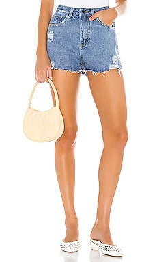 Angelica Distressed Denim Shorts superdown $26