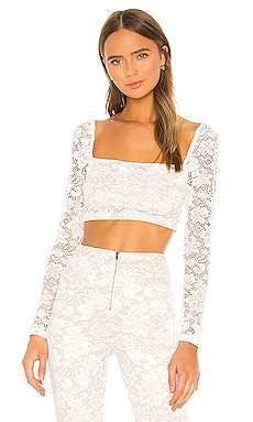 Justene Sheer Lace Top superdown $50