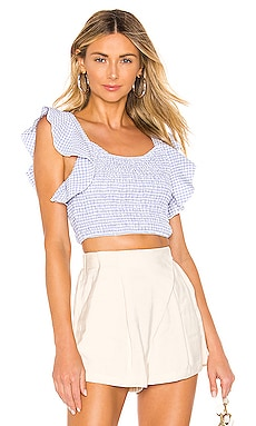 Angela Ruffle Smocked Top superdown $50