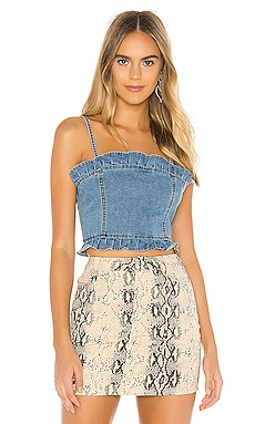 Dominique Frill Denim Top superdown $18