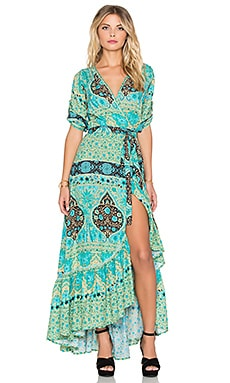 Aloha Fox Wrap Dress in Mermaid