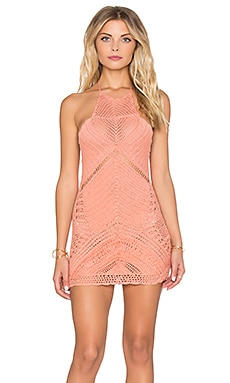Spell & The Gypsy Collective Palm Spring Halter Mini Dress in Coral
