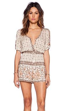 Spell & The Gypsy Collective Desert Rose Playsuit in Sand