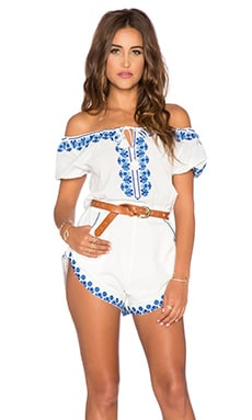 Spell & The Gypsy Collective Santorini Embroidered Romper in White