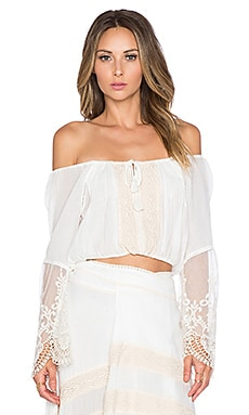 Spell & The Gypsy Collective Peasant Girl Crop Top in White