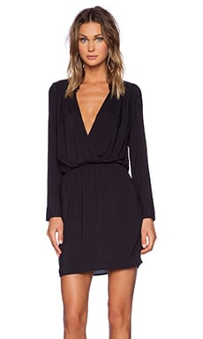 Rayon Voile Drape Dress in Black