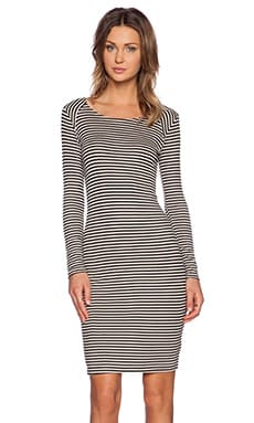 Splendid Belmar Stripe Dress in Almond & Black