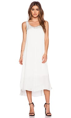 Splendid Jersey Woven Mix Tank Dress in White & Heather Grey