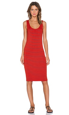 Splendid Striped Scoop Neck Maxi Dress in Poppy Red