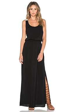 Splendid Colorclock Racerback Maxi Dress in Black & Perla