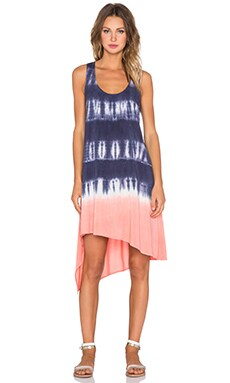 Splendid Karpaz Tie Dye Asymmetric Dress in Navy & Sunrise