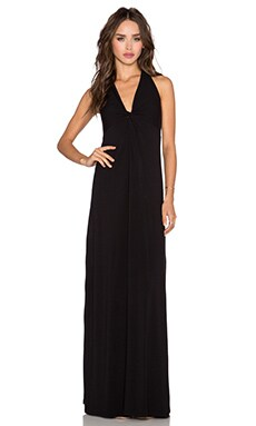 Splendid Jersey Twist Front Maxi Dress in Black