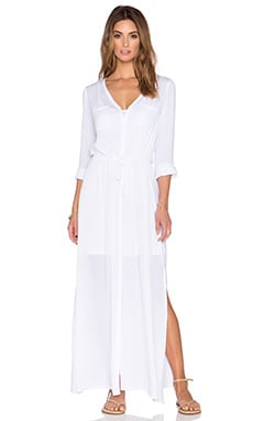 Splendid Button Down Maxi Dress in White