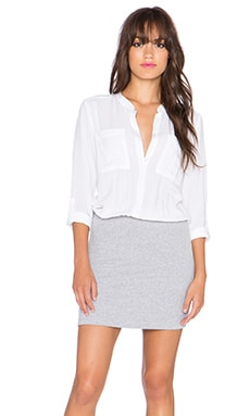 Splendid Button Up Shirt Dress in White & Heather Grey
