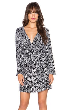 Splendid Plume Print Long Sleeve Wrap Dress in Black