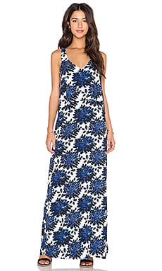 Splendid Mediterranean Blossom V Neck Maxi Dress in Royal